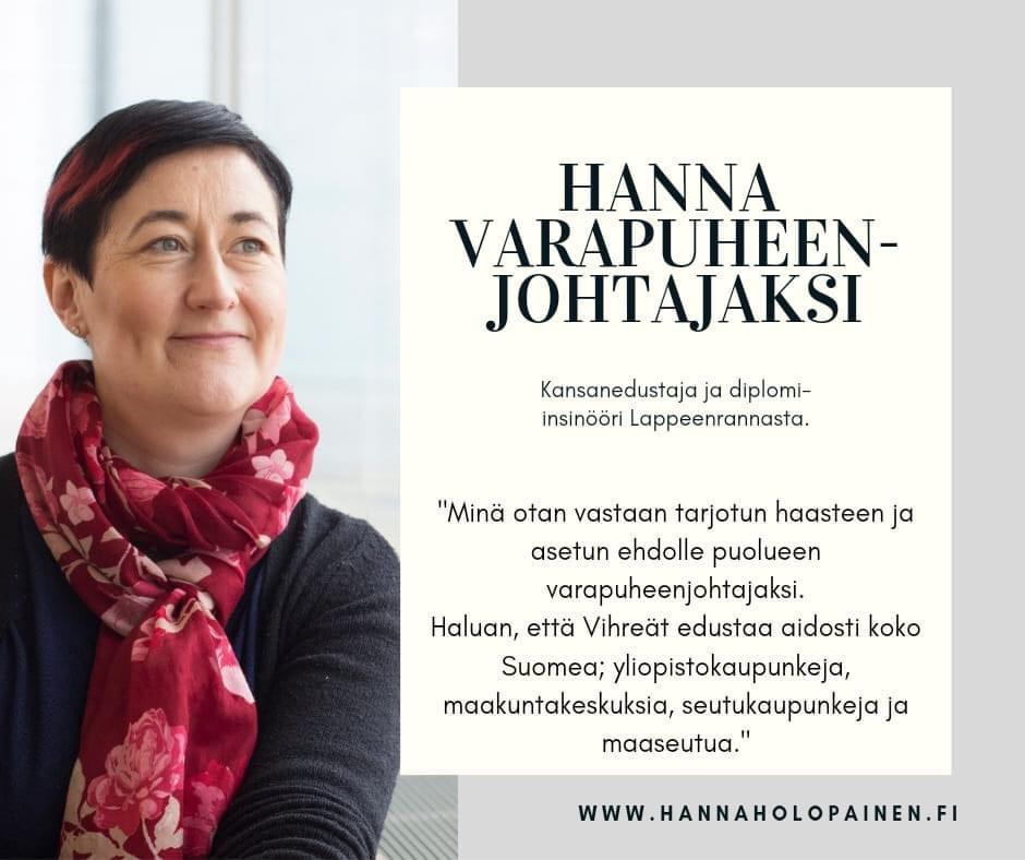 Hanna Holopainen Vihreiden varapuheenjohtajaksi